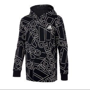 Adidas long sleeve allover logo hooded pullover M